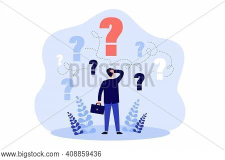 Pensive Man Standing And Making Business Decision Isolated Flat Vector Illustration. Cartoon Busines