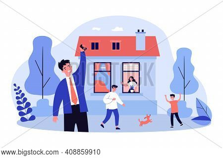 Happy Family Having Fun In New House. Dog, Boy, Key Flat Vector Illustration. Accommodation And Mort