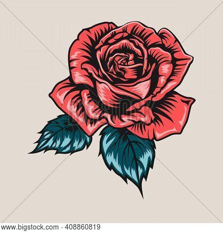 Rose Vintage Tattoo Element. Red Bud, Green Leaves, Flower Vector Illustration. Tattoo Studio Concep