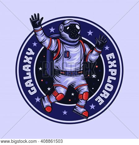Vintage Round Emblem With Astronaut. Colorful Label Design With Spaceman Walking In Open Space. Univ