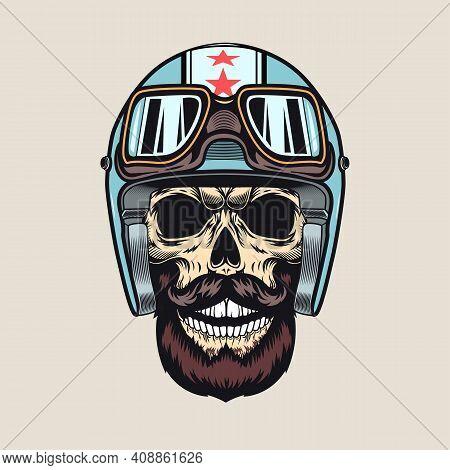 Vintage Sticker With Biker Skull In Helmet Vector Illustration. Colorful Racer Bearded Skull, Helmet