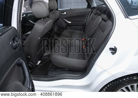Novosibirsk, Russia - February 18 2021: Ford Mondeo, Comfort Car Inside. Clean Car Interior: Black B
