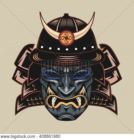 Samurai Dark Blue Monstrous Mask. Japanese Warrior Or Fighter Traditional Armor Element, Angry Face
