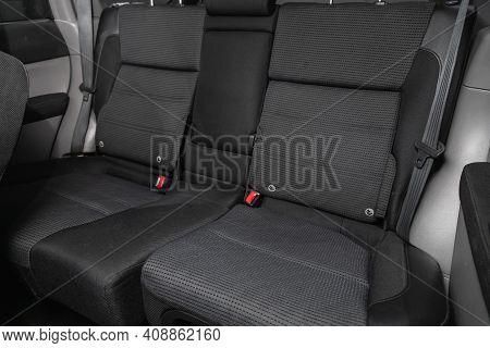 Novosibirsk, Russia - February 18 2021: Subaru Forester, Comfort Car Inside. Clean Car Interior: Bla