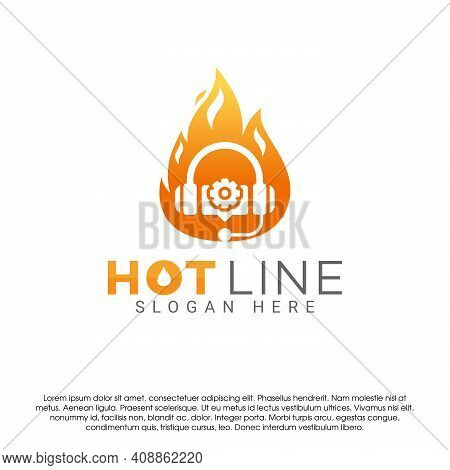 Earphone And Fire Flame Logo Icon Design Concept Template. Service Center Or Hot Line Symbol Vector