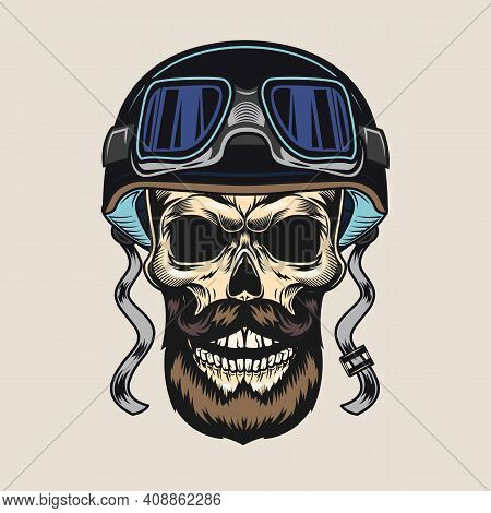 Colored Vintage Badge With Biker Bearded Skull Vector Illustration. Colorful Male Dead Head In Prote