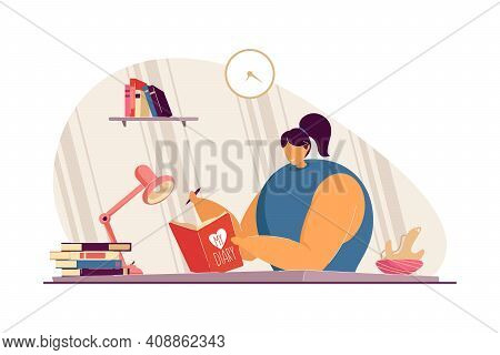 Happy School Student Teenage Girl Keeping Diary, Writing Thoughts And Life Events In Journal. Vector
