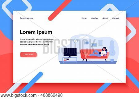 Woman Laying On Coach And Watching Film. Popcorn, Staying Home. Flat Vector Illustration. Leisure Ac