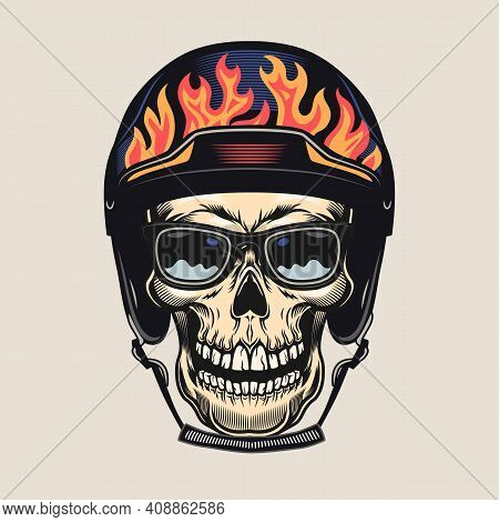 Colorful Badge With Smiling Skull In Sunglasses And Helmet Vector Illustration. Retro Tattoo With Sk