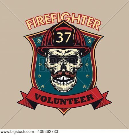 Colorful Banner With Firefighter Skull Vector Illustration. Colored Emblem For Firefighting Departme