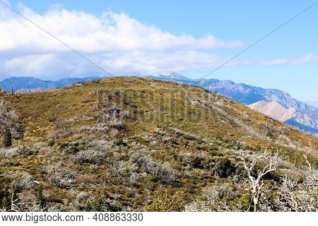 Barren Hills Covered With Chaparral Plants And Grasslands Taken On An Arid Plateau At A Windswept Fi