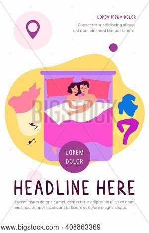 Funny Romantic Couple Lying In Bed After Sex And Hugging Flat Vector Illustration. Cartoon Man And W