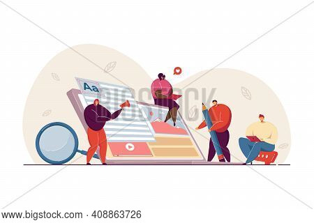 Tiny Freelance Blog Writers Creating Marketing Content On Internet. Authors Using Laptops, Writing A