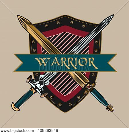 Engraving Sticker With Crossed Swords In Front Of Shield. Colored Design Element With Ancient Warrio