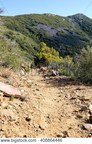Hiking Trail On An Arid Hillside Slope Covered With Chaparral Plants Taken At Arid Badlands In The S