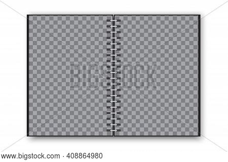 Black Notepad. Notebook Paper. Black Blank Notepad In Realistic Style. Vector Template. Stock Image.