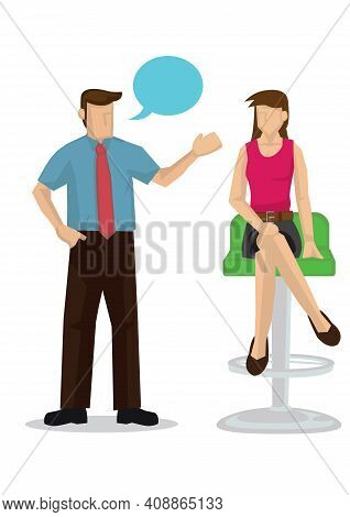 Guy Flirting With Beautiful Woman. Concept Of Flirting. Isolated Flat Vector Illustration.
