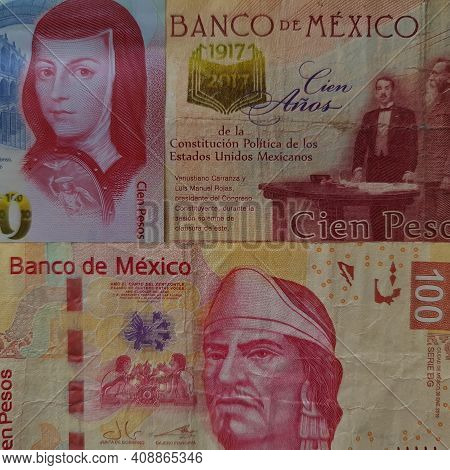 Approach To Mexican Banknotes Of 100 Pesos, Background And Texture