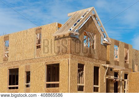Construction Of A Plywood House Frame Roof Window Sky