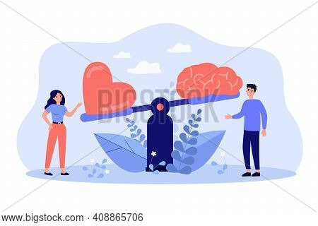 Two People Comparing Logic Thinking And Intuition On Scales Flat Vector Illustration. Cartoon Man An