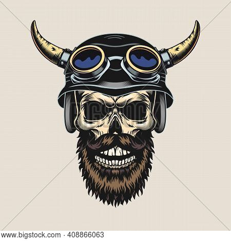 Engraving Sticker With Skull In Horned Helmet. Colored Tattoo Design Element With Dead Male Head Of