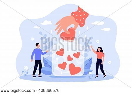 Happy Tiny People Collecting Hearts In Jar Flat Vector Illustration. Cartoon Volunteers Giving Love,