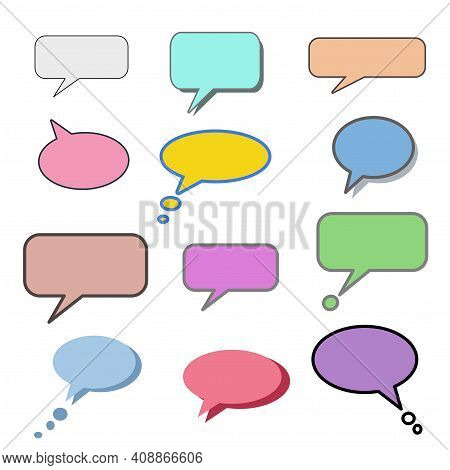 Set Different Dialog Box, Frame, Speech Balloon Bubble Colorful Red Violet Yellow Blue Color In Blac