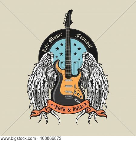 Engraving Badge With Winged Guitar Vector Illustration. Colored Emblem For Live Concert With Guitar
