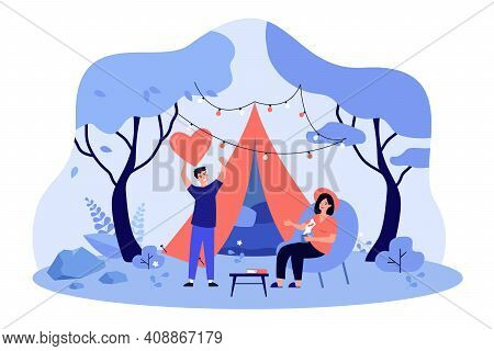 Happy Couple Dating And Glamping Outdoors Flat Vector Illustration. Two Cartoon Characters Camping O