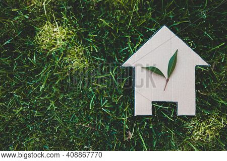 Green Home And Eco-friendly Construction, House Icon On Green Grass Lawn Under The Sun With Two Leav