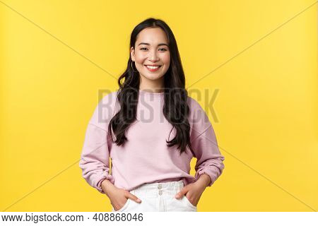 People Emotions, Lifestyle And Fashion Concept. Smiling Cute Asian Girl In Stylish Clothes Smiling C