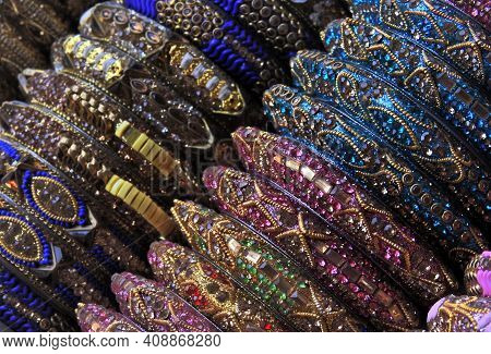 Close-up View Of Indian Woman Fashion Or Traditional Accessories Bangle In Shop Display