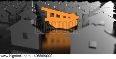 Especial House. Outstanding Building. Best Choice Concept. 3d Rendering