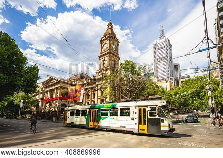 December 28, 2018: Melbourne Town Hall Located At The Central Melbourne, Victoria, Australia Was Des