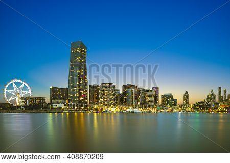 Melbourne City Business District (cbd) By Yarra River In Australia