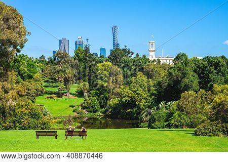 Royal Botanic Gardens And Melbourne Skyline In Australia