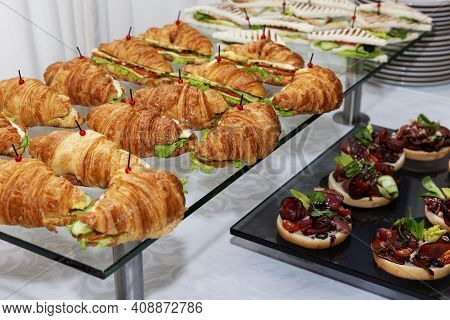 Appetizing Snacks On The Table. Catering For Business Meetings, Events And Celebrations. Close-up.