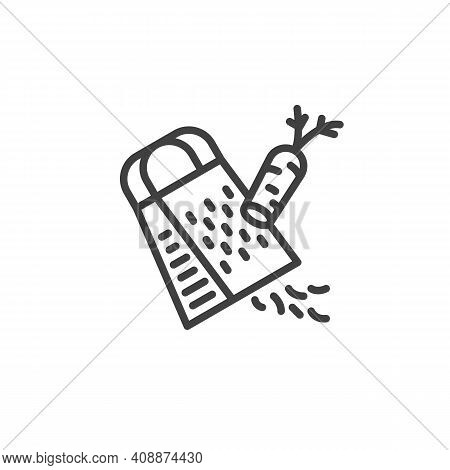 Grated Carrot Line Icon. Cooking Instruction Linear Style Sign For Mobile Concept And Web Design. Ca