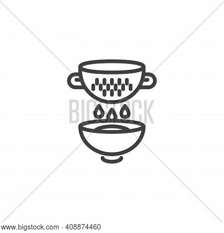 Cooking With Colander Line Icon. Linear Style Sign For Mobile Concept And Web Design. Strainer And B