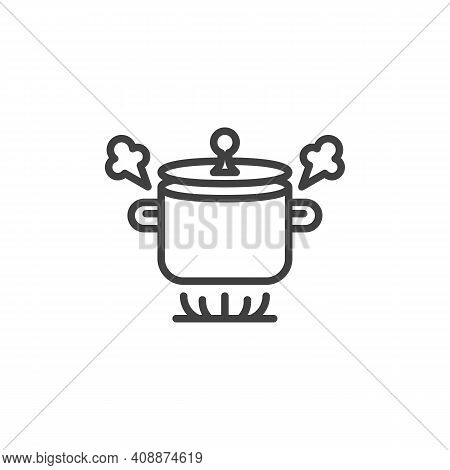 Boiling Pot On Gas Stove Line Icon. Linear Style Sign For Mobile Concept And Web Design. Boiling Sau