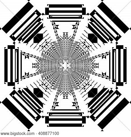 Abstract Frame Multiple Perspective Astral Arabesque Intersections Black On Transparent Background D