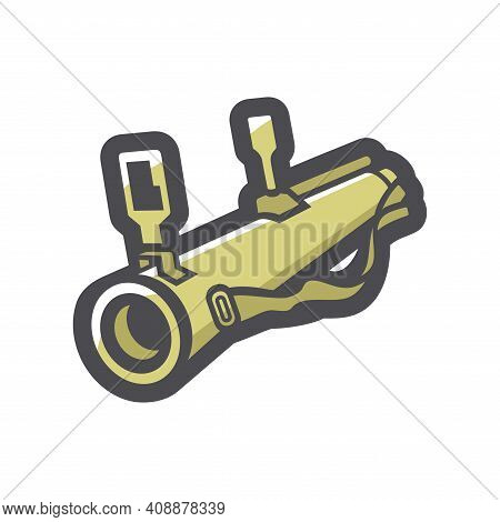 Grenade Launcher Weaapon Vector Icon Cartoon Illustration.
