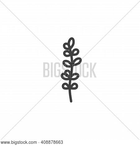 Thyme Leaves Line Icon. Linear Style Sign For Mobile Concept And Web Design. Thyme Plant Outline Vec
