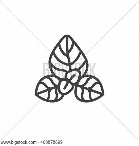 Oregano Herb Line Icon. Linear Style Sign For Mobile Concept And Web Design. Oregano Leaves Outline