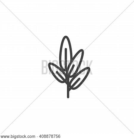 Sage Herb Line Icon. Linear Style Sign For Mobile Concept And Web Design. Sage Leaves Outline Vector