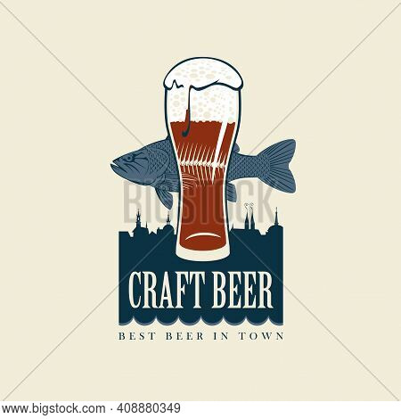 Vector Banner For Craft Beer With An Overflowing Glass Of Frothy Beer, A Fish And Silhouettes Of Hou