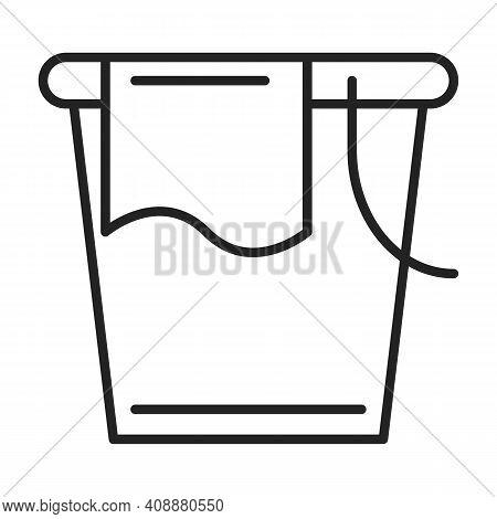 Bucket Line Icon. Symbol Of Washing Tool