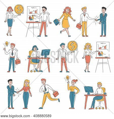 Set Of Business People Vector Isolated. Doodle Illustration Of Business Team In Different Situations