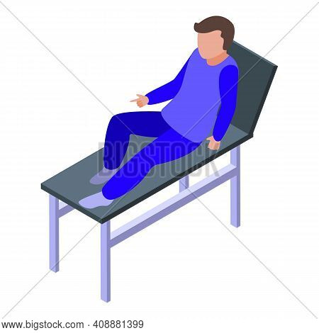Physical Therapist Hospital Bed Icon. Isometric Of Physical Therapist Hospital Bed Vector Icon For W