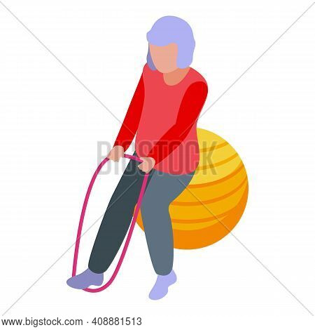 Granny Fitness Ball Icon. Isometric Of Granny Fitness Ball Vector Icon For Web Design Isolated On Wh